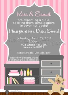 Custom Baby Shower Invitation, Diaper Shower, Changing Table. $15.00, Via  Etsy. | Baby Showeru0027s Idea | Pinterest | Diaper Shower, Custom Baby Shower  ...