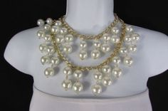 """New Women 16"""" Long Double Gold Metal Chains 2 Strands Big Pearl Beads Necklace"""