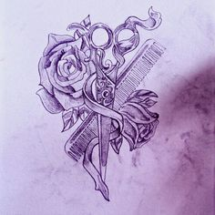 I Like This With Different Flowers And A Color Brush Instead Of 118 Best Cosmetology Tattoos. Tattoo P, Flor Tattoo, Piercing Tattoo, Tattoo Drawings, Piercings, Cosmetology Tattoos, Hairdresser Tattoos, Hairstylist Tattoos, Cosmetologist Tattoo