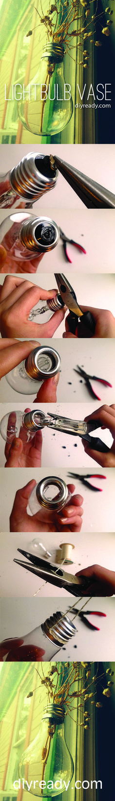 How to make a hanging lightbulb vase. Super easy DIY project idea! http://diyready.com/make-hanging-lightbulb-planter/