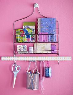 A shower rack for organizing craft supplies? Or maybe even for organizing make up and necklaces in a bathroom? A shower rack for organizing craft supplies? Organisation Hacks, Organizing Hacks, Studio Organization, Bedroom Organization, Organising, Storage Organization, Organization Skills, Jewelry Organization, Creative Storage