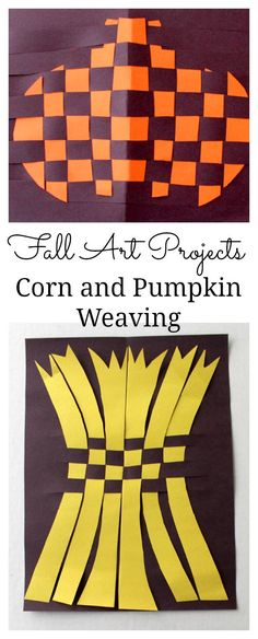 Fall Art Projects- Corn and Pumpkin Weaving
