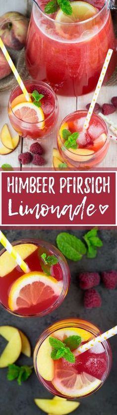 Homemade lemonade with the tescoma lemon squeezer- Selbstgemachte Limonade mit der tescoma-Zitronenpresse Lemonade does not always have to be packed with sugar. This homemade lemonade with raspberries and peach is incredibly tasty and refreshing! Peach Lemonade, Blueberry Lemonade, Simple Jungle Juice Recipe, Homemade Lemonade Recipes, Party Punch Recipes, Smoothie Drinks, Smoothie Mixer, Summer Drinks, Healthy Drinks