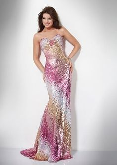 white, pink, and gold sparkle prom dress