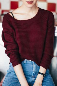 Boat Neck Wine Red Sweater 2019 Boat Neck Wine Red Sweater The post Boat Neck Wine Red Sweater 2019 appeared first on Sweaters ideas. Mode Outfits, Fall Outfits, Casual Outfits, Fashion Outfits, Red Outfits For Women, Fashion Tips, Fashion Ideas, Summer Outfits, Fashion Trends
