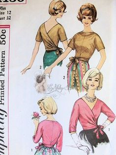 Rare 1960s Turnabout Blouse Pattern May Be Turned To Front or Back Wrap Blouse V or Bateau Neckline Simplicity 4130 Vintage Sewing Pattern Bust 32 UNCUT: