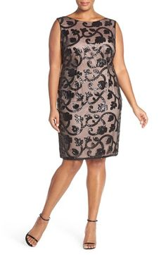 Adrianna Papell Sequin Embroidered Bateau Neck Sheath Dress (Plus Size)