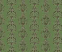 Cat Damask fabric by aplcreations on Spoonflower - custom fabric
