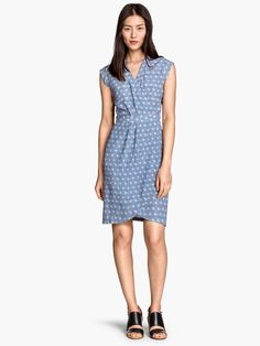 H&M Wrap Front Crêpe Dress Blue Patterned Short Sleeved Women's Sz 8 NEW w TAGS  #HM #WrapDress #Casual