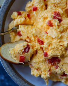 Southern Pimento Cheese Recipe – A staple spread in Southern home and parties, pimento cheese is a classic! Made with cheddar cheese, pimentos and a secret ingredient, this pimento cheese recipe is always a hit! Pimento Cheese Sandwiches, Homemade Pimento Cheese, Pimento Cheese Recipes, Cheese Appetizers, Cheddar Cheese, Appetizer Recipes, Old Fashioned Pimento Cheese Recipe, Pimiento Cheese, Cheese Dips
