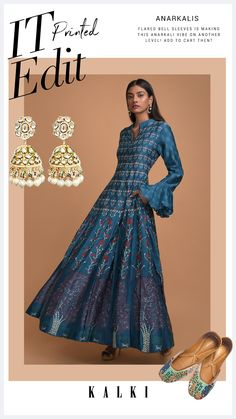 Teal anarkali dress in cotton with floral print all over in repeat pattern. Hemline adorned with tree motif. Crafted with mandarin collar and full sleeves with ruffle cuffs. Slight variation in color is possible due to digital photography. Indian Attire, Indian Wear, Indian Outfits, Strapless Dress Formal, Formal Dresses, Lehenga Designs, Full Sleeves, Anarkali Dress, Mandarin Collar