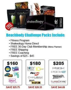 FITNESS + NUTRITION + SUPPORT = SUCCESS...with a Challenge pack you get all of that and at a discount with free shipping!  Everything you need to get started to a new you!  Ask how you can get started today!  http://kathymcdonaldfitness.com/contact/