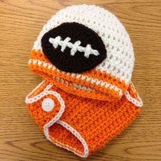 Tennessee Volunteers Crochet Newborn Football Diaper Cover and Team Colors Beanie Photo Prop. custom team, custom colors