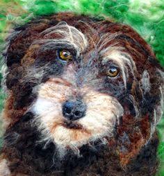 Needle-felted wool dog portrait - wire-haired daschund