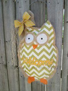 Owl Burlap Door Hanger Chevron Pattern Welcome by nursejeanneg, $32.00