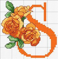 The rose alphabet S Cross Stitch Letter Patterns, Monogram Cross Stitch, Cross Stitch Numbers, Free Cross Stitch Charts, Mini Cross Stitch, Cross Stitch Rose, Cross Stitch Alphabet, Cross Stitch Flowers, Cross Stitch Embroidery