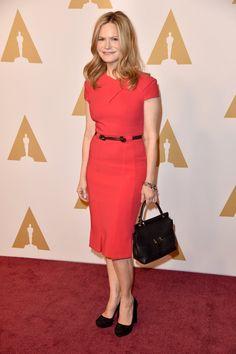 Pin for Later: Lady Gaga, Leonardo DiCaprio et les Autres Nommés Se Rendent au Déjeuner Pré Oscars Jennifer Jason Leigh