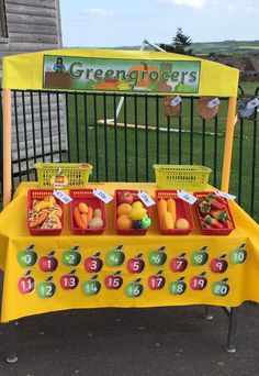 For our Healthy eating theme I have created a Green Grocers for our outside CP Eyfs Activities, Nursery Activities, Activities For Kids, Harvest Eyfs, Olivers Vegetables, Handas Surprise, Role Play Areas, Eyfs Classroom, Outdoor Learning