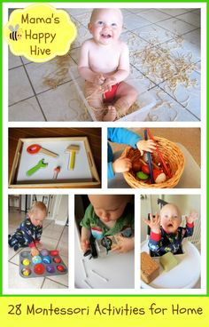 This is a four week series of fine motor Montessori activities to do at home with your little one.  Little Bee is 15 months old.  Visit www.mamashappyhive.com