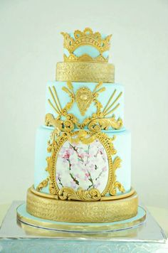 Cake at a Fairytale Princess Baby Shower on KarasPartyIdeas.com #fairytale #princess #babyshower #cake