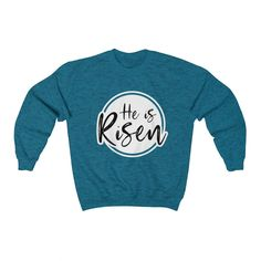 He is Risen Unisex Heavy Blend™ Crewneck Sweatshirt Teen Fashion Outfits, Trendy Outfits, Cool Outfits, Summer Outfits, Mens Fashion, Middle School Outfits, Funny Outfits, Christian Shirts, Teenager Outfits
