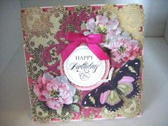 224.Cardmaking Project: Anna Griffin Pretty Pink Butterfly Card