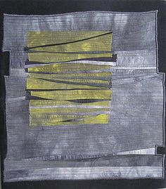 """Beth Carney Studio /Reflecting Chasms, 2011, 14"""" x 16"""" Hand-dyed cotton by the artist. Machine pieced, fused and machine quilted. Displayed at the Arsenal Arts Center in Watertown MA Privately owned"""