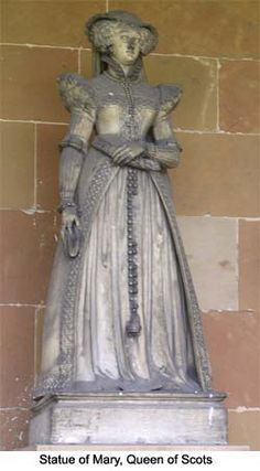 Statue of Mary, Queen of Scots, who was a prisoner at Chatsworth, Tutbury and other Shrewsbury houses.