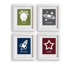 Outer Space - Set of Four 5x7 Space Prints - Nursery Decor, Nursery Art, Educational, Children's Wall Art, Playroom Decor. $39.95, via Etsy.