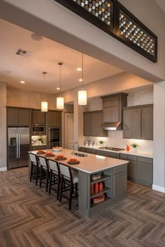 Kitchen Layouts, Kitchen Designs, Kitchen Ideas, Gray Island, Stock  Cabinets, Island Kitchen, Kitchen Dining, Kitchens With Islands,  Transitional Kitchen