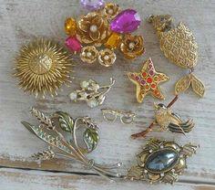 Vintage Jewelry Brooches Pins LIA Sophia Lori Goldstein etc. Lot on Ebay