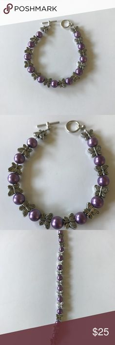 Lavender pearl butterfly bracelet Treat yourself or a loved one to a one of a kind piece of jewelry.   Lavender pearls 8mm and pewter butterfly 12mm make this beautiful 7 inch bracelet.  All my jewelry is made with quality and the best wire and beads.  Perfect for any occasion. Jewelry Bracelets