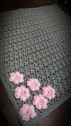 Beautiful Handmade Crochet Baby Girl Gray Blanket with Pink Flower Applique by CrazyBeautifulCrafts on Etsy https://www.etsy.com/listing/245444213/beautiful-handmade-crochet-baby-girl #CrochetBaby