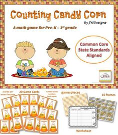 This is a math counting game, and is great fun for students in Pre-K though 1st grade. It is aligned with the Common Core State Standards (CCSS). The set is perfect for use in math centers / stations.  Task cards and worksheets.