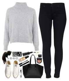 """""""Cosy Monday."""" by amy-gray0 ❤ liked on Polyvore featuring Hudson Jeans, Topshop, Converse, Zara, Clinique, Bobbi Brown Cosmetics, Forever 21, Samsung, Essie and Jo Malone"""