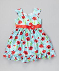 Loving this Light Blue Tulips A-Line Dress - Infant, Toddler & Girls on #zulily! #zulilyfinds