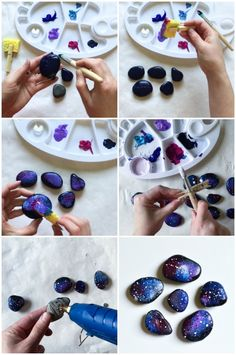 Space Rocks Fridge Magnets is part of Rock painting art - Paint rocks as if they were shards of the night sky and make space rock fridge magnets! Outoftheworld craft and simple kidmade gift for space lovers Stone Crafts, Rock Crafts, Diy Crafts To Sell, Diy Crafts For Kids, Crafts For Gifts, Rock Painting Ideas Easy, Rock Painting Designs, Galaxy Crafts, Diy Magnets
