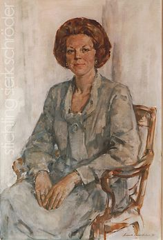 Portret van Koningin Beatrix door Sierk Schröder, 1981