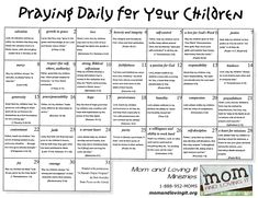 I love this monthly prayer calendar. I keep it taped to the door to the garage so I can have a daily reminder to keep praying!