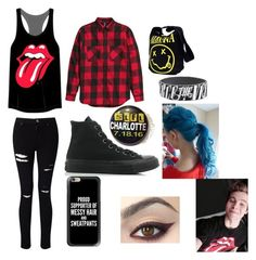 """""""Rolling Stones concert with Luke Hemmings"""" by michaelgclifford03 ❤ liked on Polyvore featuring Miss Selfridge, Converse and Casetify"""