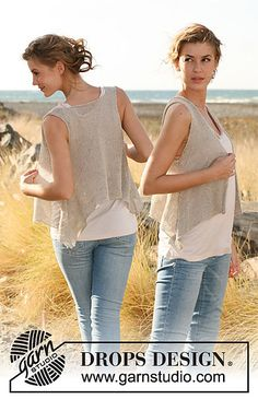 Ravelry: 129-15 Asymmetric vest, worked top down pattern by DROPS design