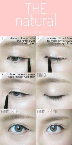 trendy Ideas for makeup everyday eyeliner make up Korean Eyeliner, Smokey Eyeliner, Eyeliner Liquid, Korean Makeup Look, Asian Eye Makeup, Korean Natural Makeup, Everyday Eyeliner, Everyday Makeup, Makeup Tutorial Eyeliner