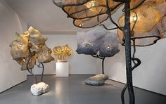 nacho carbonell has debuted his latest series of unconventional lamp sculptures to be exhibited at the carpenters workshop gallery in paris this fall.