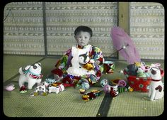 A baby girl and her toys Enami Studio Lantern Slide No : 448. About 1920's, japan