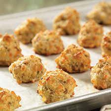 Gluten-Free Cheddar-Chive Sausage Bites made with baking mix: King Arthur Flour