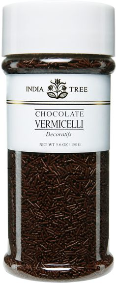 INDIA TREE's Chocolate Vermicelli may be used to decorate candy, cakes, cookies and ice cream. It is also great with coffee. Sprinkle it over a cappuccino, a latte or an espresso topped with whipped cream. Or serve it in a glass bowl on a coffee condiment Whipped Cream, Ice Cream, Candy Cakes, Chocolate Sprinkles, Specialty Foods, Kitchen Supplies, Color Lines, Food Coloring, Espresso