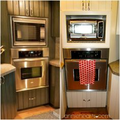 A cozy toaster oven nook. We used extra granite to place under the toaster oven. anniehearts.com