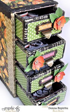 Loving this stamp storage from Donna using An Eerie Tale! Come see this great project #graphic45