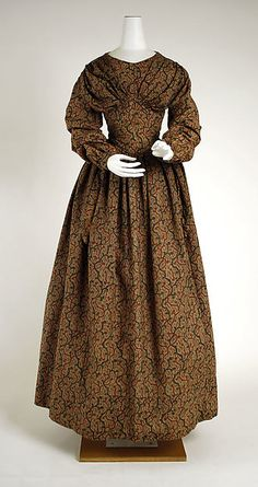 Dress (image 1) | American | 1838-1840 | cotton, wool | Metropolitan Museum of Art | Accession #: C.I.38.100.2