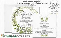 Levélkoszorús Meghívó szett, Esküvői Meghívó, Erdei Esküvő,Natur Meghívó,Örökzöld, (Studioin) - Meska.hu